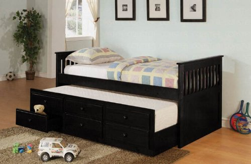 Coaster La Salle Daybed With Trundle And Storage Drawers In Black front-1000329