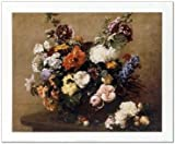 SMART ART - 'Still Life of Flowers ' by Henri Fantin-Latour - Fine Art Print 23x19 inches