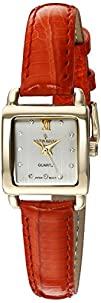 Peugeot Womens 14K Gold Plated Small Square Skinny Coral
