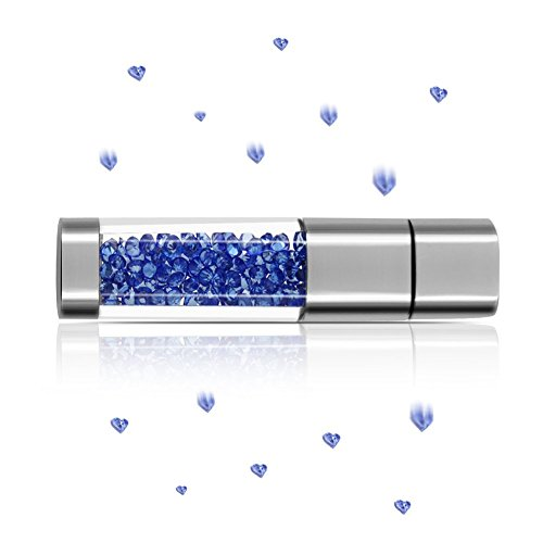 Techkey Jewelry Crystal USB Flash Drive for Girls,with 2 in 1 Anti Dust Plug + Stylus Pen for Touch Screens Set,Photo Frame Packaging,64GB,Sapphire (1 2 Inch Crystal Plug compare prices)