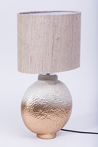 Courtyard Ashram Table Gold & White Base Lamp with oval Matka Silk Shade