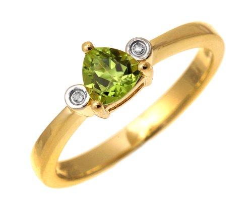 9ct Yellow Gold Triangular Peridot And Diamond 3 Stone Ring