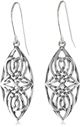 Sterling Silver Oxidized Celtic Knot Oval Dangle Wire Earrings