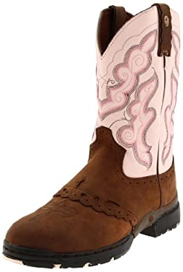 "Justin Boots Women's George Strait :03.1 Series 11"" Waterproof Boot Low Profile Round Toe Oil-Resisting Rubber Outsole,Bay Apache with Saddle Vamp/Pink Cowhide,5 B US"
