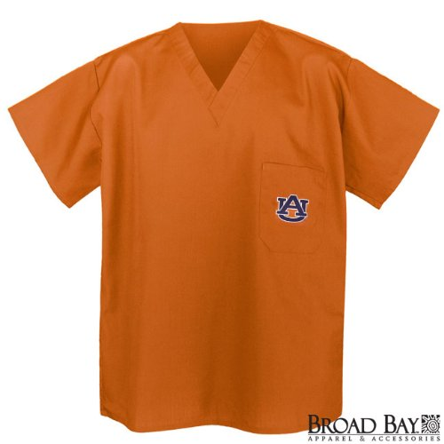 Auburn Scrubs Top Shirt- Orange Size SM- Auburn Tigers For HIM or HER -Officially Licensed NCAA College Logo Apparel For HIM or HER - SEARCH BROAD BAY SCRUB FOR OTHER Unique GIFT Ideas for Man Men Woman Women Ladies Nurses at Amazon.com