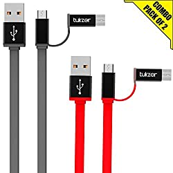 Tukzer 3.2ft / 1mtr Premium [Pack of 2] 2in1 Duo TYPE-C & MICRO USB High Speed Charge & Sync, Tangle Free, Reversible Design Flat cable [GREY-RED]