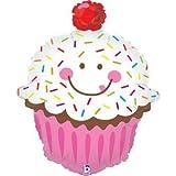 "Betallic 31"" Jumbo Smiling Sprinkle Cupcake Foil Mylar Balloon"