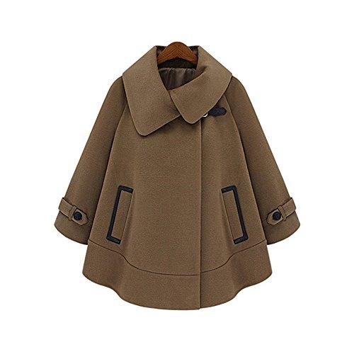 New Retro Fashion Women'S Plus Size Short Paragraph Cape Woolen Windbreaker Female Coat (Xxl)