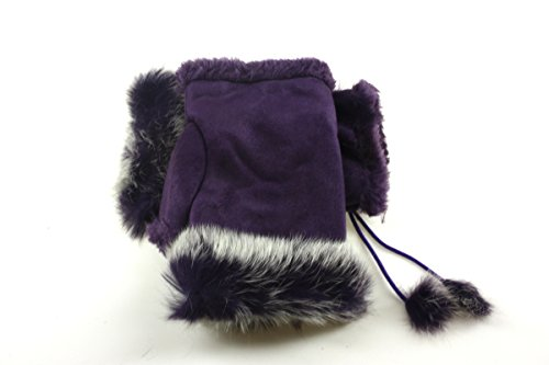 Fashion Dimensions Electric Purple Faux Fur Fingerless Ladies Gloves