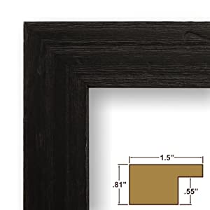 """22x32 Picture / Poster Frame, Wood Grain Finish, 1.5"""" Wide, Distressed Black (1.5DRIFTWOODBK)"""