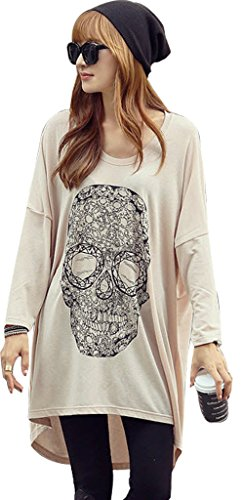 Easy Womens Casual Long Sleeve Loose Skull Print Top T-shirt Blouses Apricot