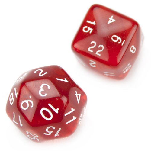 Set of 24 and 30 Sided Polyhedral Dice - Translucent Red D24 and D30 with White Numbers by Wiz Dice - 1