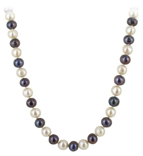 Silver on Copper White and Blackish Freshwater Cultured Pearl Necklace 18 inch Heart Toggle Clasp