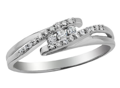 Three Stone Diamond Promise Ring 1/6 Carat (ctw) in 10K White Gold