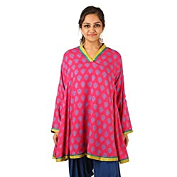 INDRICKA Pink colour Bio-silk (Modal) Tunic for womens