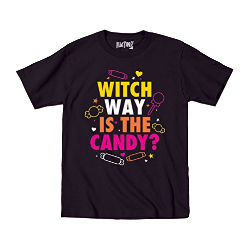 Witch Way Is The Candy Funny Cute Halloween - Youth T-Shirt