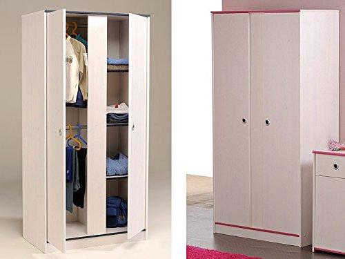 Kleiderschrank 2-türig 90x182x51cm weiß / pink + blau, Schlafzimmerschrank Drehtürenschrank Snoopy 11 jetzt bestellen