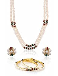 Nisa Pearls White And Red Combination Necklace For Women