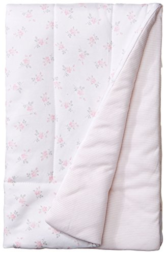 Little Me Baby-Girls Newborn Delicate Puff Blanket, White/Pink, One Size