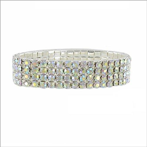JOA Four Line Rhinestone Stretch Bracelet #040020