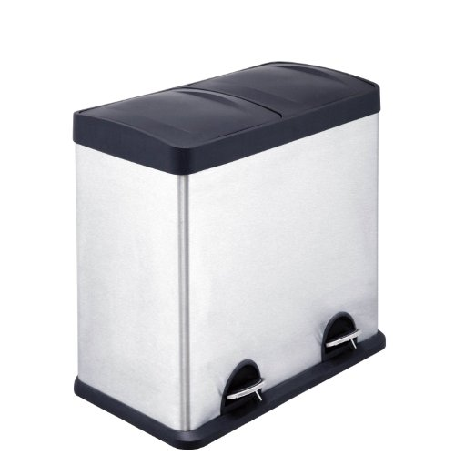 Premier Housewares 48 Litre Stainless Steel Recycle Bin with 2 Compartments, Height 55 cm x Width 34 cm x Depth 59 cm