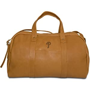 MLB Philadelphia Phillies Tan Leather Corey Duffel Bag by Pangea Brands