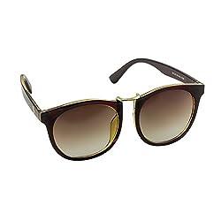 SHEK Brown Oval Frame Brown Lens Men Sunglasses