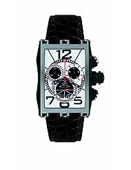 Gio Monaco Men's 627-A Mac V Rectangular PVD Silver Dial Chrono Watch