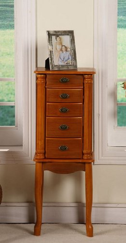 Jewelry Armoire with Wooden Skirt in Oak Finish