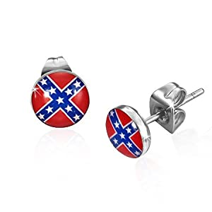 7mm Stainless Steel Flag Of The Confederate States of America Small Stud Earrings