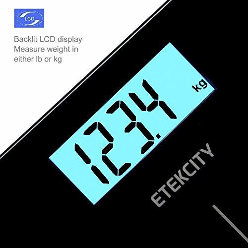 Etekcity® Báscula de Baño Digital de Alta Medición Precisa 5kg-180kg con Diseño Extraplano y LCD Retroiluminación, Negro