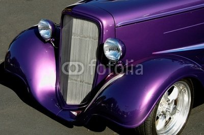 "Wallmonkeys Peel and Stick Wall Decals - Purple Vintage Car - 24""W x 16""H Removable Graphic"