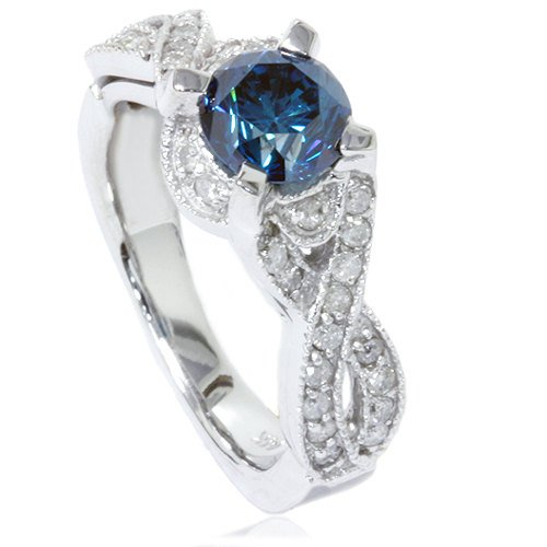 Vintage Blue Diamond Infinity Engagement Ring 14K White Gold