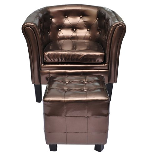 Edle Chesterfield Edler Sessel Lounge Couch Sofa Büro Möbel mit Sitzhocker