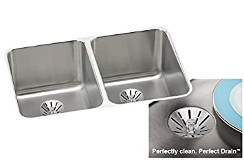 Elkay ELUH3220PD Satin Stainless Steel Gourmet Double Bowl Undermount Kitchen Sink Package with Perfect Drain Kits