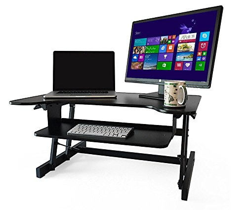 standing desk the deskriser height adjustable sit stand up dual monitor office computer desk heavy duty supports