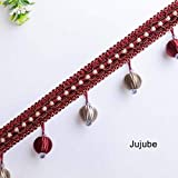 12Yards Luxury Style Tassel Trimming Curtain-Lace Trim for Sewing-Fringe Trim for Sewing-Fringe Trim for Craft-Lace Trim for Craft-Fringe Trim for Clothing-Lace Trim for Clothing-DIY Sewing Accessory (Color: Jujube)