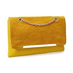 BMC Fashionably Chic Mustard Madness Faux Suede Leather Gold Metal Chain Envelope Clutch Handbag