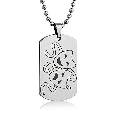 """Theater Masks Silhouette Engrave Dog tag Necklace Pendant 24"""" inch Stainless Steel Ball Chain with Giftpouch and Keyring"""