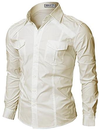 Doublju Mens Dress Shirt with Epaulet BEIGE (US-XS)