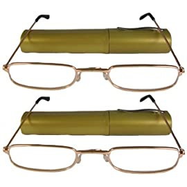 Reading Glasses-Lot Of 2-Metal Frame-Slim Line-Tube-Gold+1.00