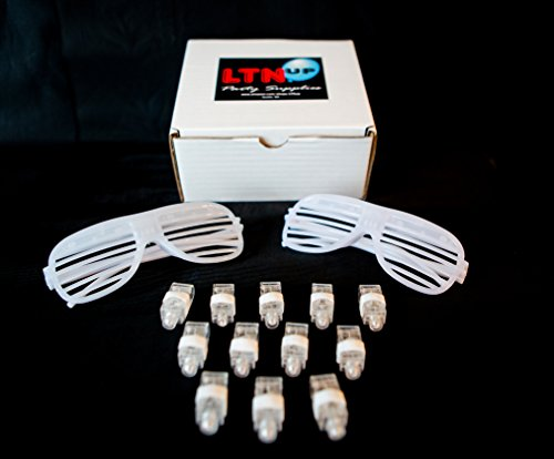 [LED All White Party Pack by LTNUP Party, 32 LED Finger lights (White) and 4 LED Shutter sunglasses (White), Light the Night Up with this awesome LED Party] (80s 90s Costume Ideas)
