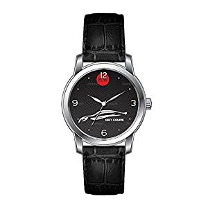 AMS Christmas Gift Watch Women's Vintage Design Leather Black Band Wrist Watch Personalized Hyundai Genesis Coupe Watches