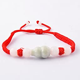 Feng Shui Red String Bracelet with Jade Wulou/ Hu Lu for Good Fortune & Wealth Luck + One Free Red String Bracelet Sku:H2045