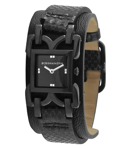 BCBG Maxazria Ladies Black Leather Strap Watch BG6301