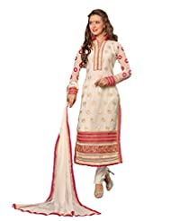 Suchi Fashion Two In One Off White And Pink Embroidered Georgette Semi Stitched Straight Fit Salwar Kameez And...