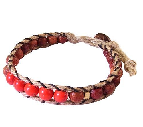 artisan-handgefertigt-unisex-armband-rot-howlite-stein-messing-holz-beads-hanf-schnur