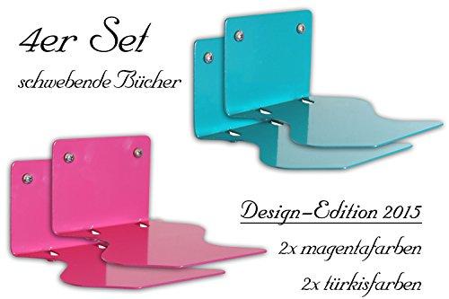 4er-Set-Unsichtbares-Bcherregal-Design-Edition-schwebender-Bcher-Der-ausgefallene-originelle-und-versteckte-Buchhalter-zum-Aufhngen-fr-die-Wand-Bchersttze-geschwungen-hochglanz-trkisfarben-blau-und-ma