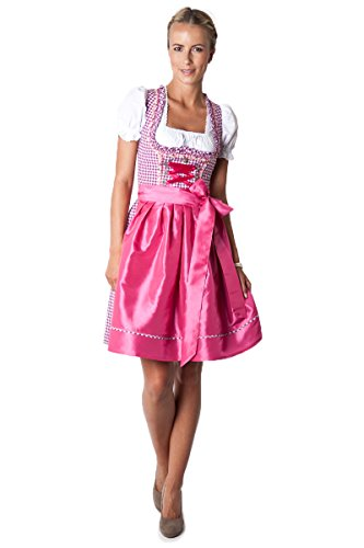 Ludwig und Therese Damen Trachten Dirndl-Set Lilly mini beere/pink 3-tlg 11210 thumbnail