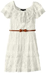 My Michelle Girls 7-16 Ruffle Sleeve Lace Dress with Bow Belt from My Michelle